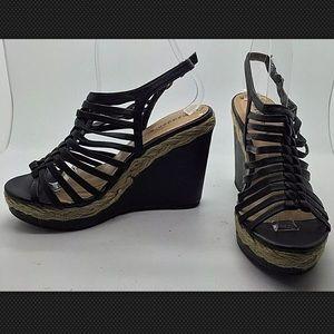 MADDEN GIRL Black Strappy Wedges Heels Sandals 7M